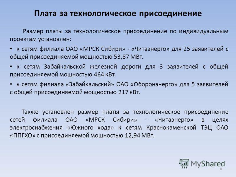 Плата за технологическое присоединение Размер платы за технологическое присоединение по индивидуальным проектам установлен: к сетям филиала ОАО «МРСК Сибири» - «Читаэнерго» для 25 заявителей с общей присоединяемой мощностью 53,87 МВт. к сетям Забайка