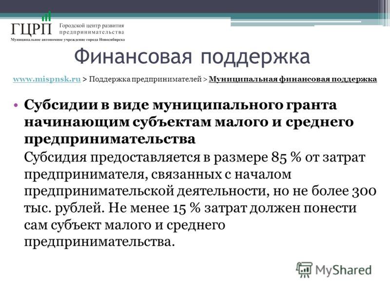 Финансовая поддержка www.mispnsk.ruwww.mispnsk.ru > Поддержка предпринимателей > Муниципальная финансовая поддержка Субсидии в виде муниципального гранта начинающим субъектам малого и среднего предпринимательства Субсидия предоставляется в размере 85