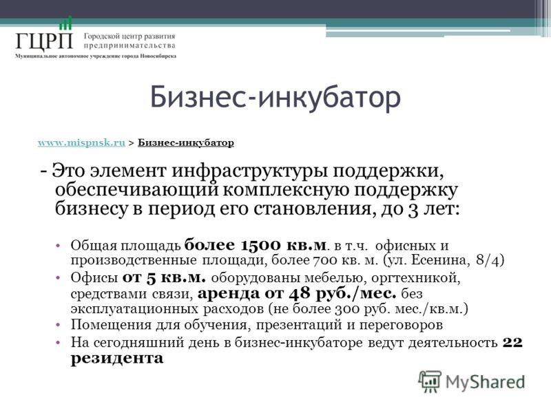 Бизнес-инкубатор www.mispnsk.ruwww.mispnsk.ru > Бизнес-инкубатор - Это элемент инфраструктуры поддержки, обеспечивающий комплексную поддержку бизнесу в период его становления, до 3 лет: Общая площадь более 1500 кв.м. в т.ч. офисных и производственные