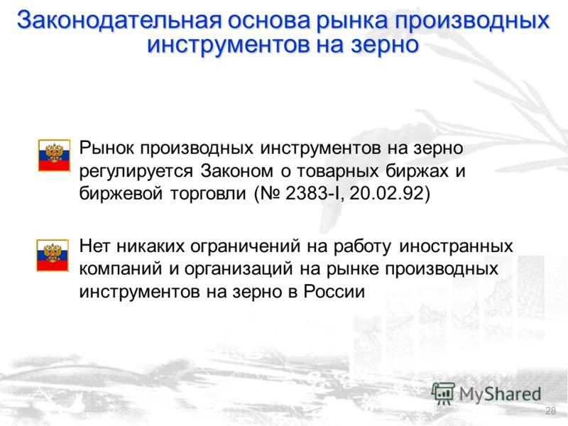 28 Рынок производных инструментов на зерно регулируется Законом о товарных биржах и биржевой торговли ( 2383-I, 20.02.92) Нет никаких ограничений на работу иностранных компаний и организаций на рынке производных инструментов на зерно в России Законод
