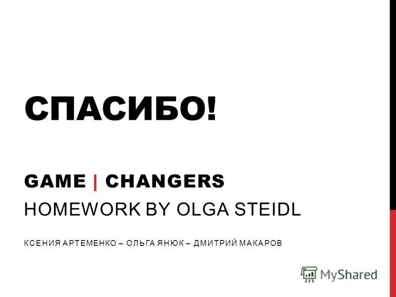 СПАСИБО! GAME | CHANGERS HOMEWORK BY OLGA STEIDL КСЕНИЯ АРТЕМЕНКО – ОЛЬГА ЯНЮК – ДМИТРИЙ МАКАРОВ