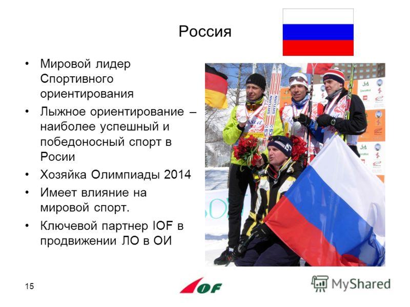 Россия Мировой лидер Спортивного ориентирования Лыжное ориентирование – наиболее успешный и победоносный спорт в Росии Хозяйка Олимпиады 2014 Имеет влияние на мировой спорт. Ключевой партнер IOF в продвижении ЛО в ОИ 15