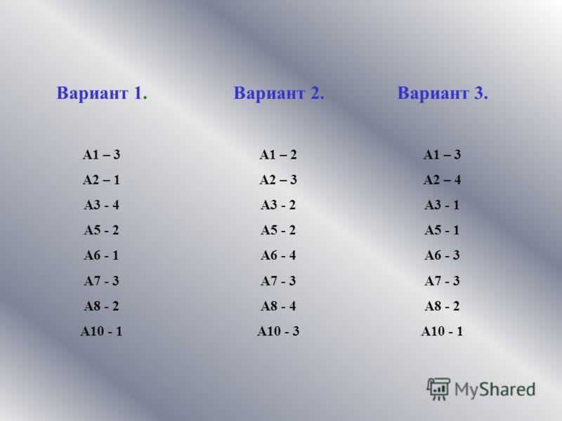 Вариант 2. А1 – 2 А2 – 3 А3 - 2 А5 - 2 А6 - 4 А7 - 3 А8 - 4 А10 - 3 Вариант 3. А1 – 3 А2 – 4 А3 - 1 А5 - 1 А6 - 3 А7 - 3 А8 - 2 А10 - 1 Вариант 1. А1 – 3 А2 – 1 А3 - 4 А5 - 2 А6 - 1 А7 - 3 А8 - 2 А10 - 1