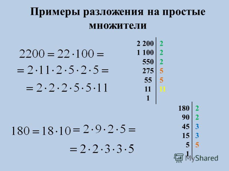 2 200 2 1 100 2 550 2 275 5 55 5 11 11 1 180 2 90 2 45 3 15 3 5 5 1 Примеры разложения на простые множители