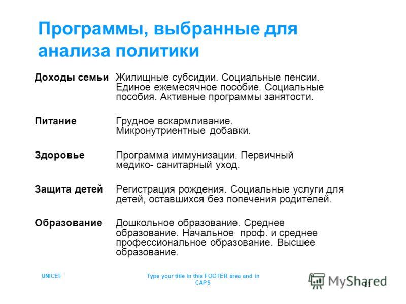 UNICEFType your title in this FOOTER area and in CAPS 11 Программы, выбранные для анализа политики Доходы семьиЖилищные субсидии. Социальные пенсии. Единое ежемесячное пособие. Социальные пособия. Активные программы занятости. ПитаниеГрудное вскармли