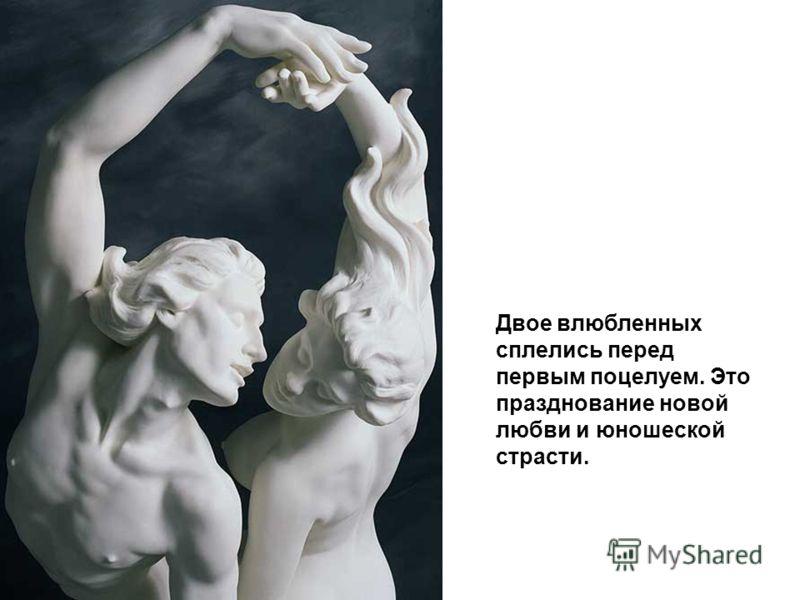 Двое влюбленных сплелись перед первым поцелуем. Это празднование новой любви и юношеской страсти.