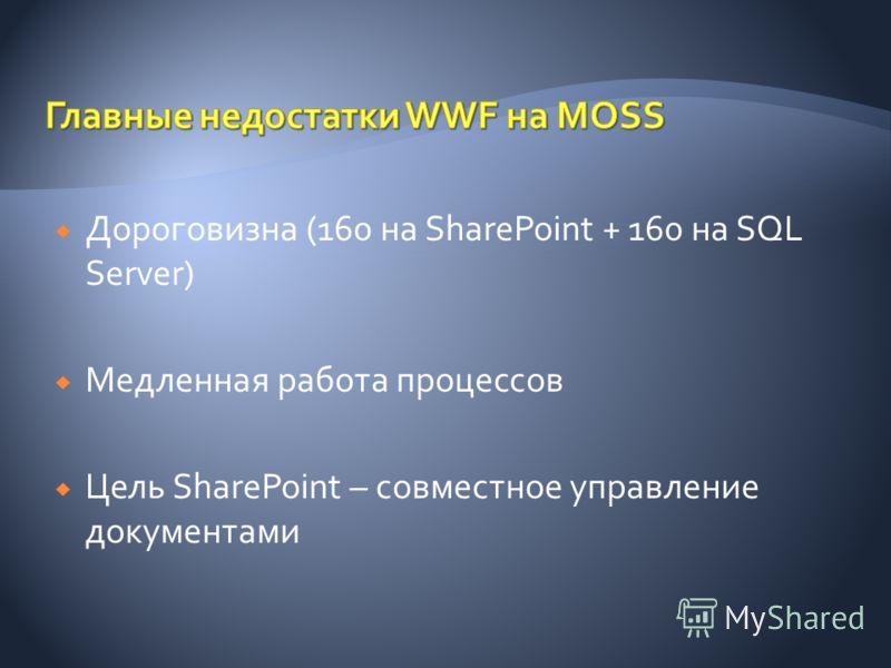 Дороговизна (160 на SharePoint + 160 на SQL Server) Медленная работа процессов Цель SharePoint – совместное управление документами