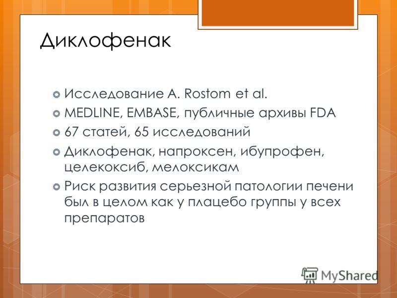 Диклофенак Исследование A. Rostom et al. MEDLINE, EMBASE, публичные архивы FDA 67 статей, 65 исследований Диклофенак, напроксен, ибупрофен, целекоксиб, мелоксикам Риск развития серьезной патологии печени был в целом как у плацебо группы у всех препар