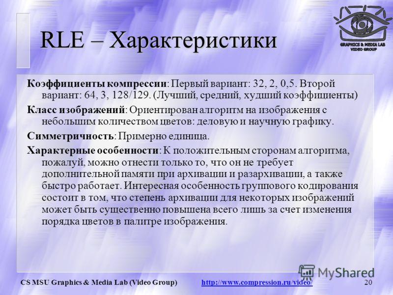 CS MSU Graphics & Media Lab (Video Group) http://www.compression.ru/video/19 RLE – Схемы вариантов