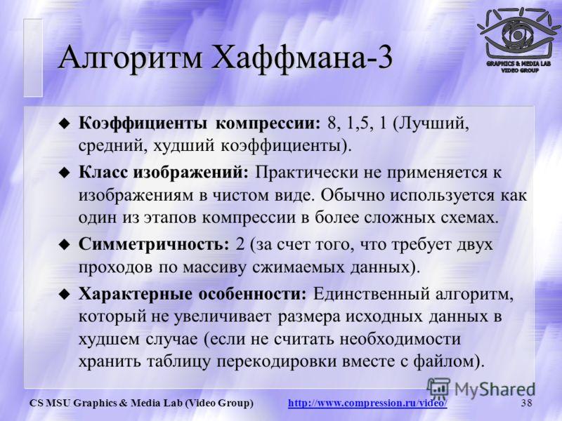 CS MSU Graphics & Media Lab (Video Group) http://www.compression.ru/video/37 Алгоритм Хаффмана-2