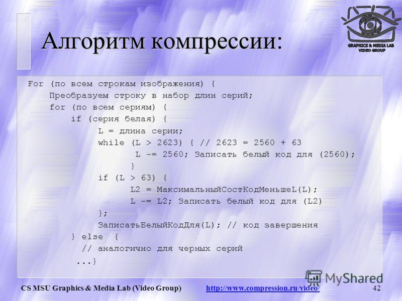 CS MSU Graphics & Media Lab (Video Group) http://www.compression.ru/video/41 Алгоритм CCITT G3 u Последовательности подряд идущих черных и белых точек заменяются числом, равным их количеству. u Этот ряд сжимается по Хаффману с фиксированной таблицей.