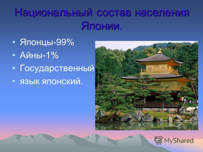 Национальный состав населения Японии. Японцы-99% Айны-1% Государственный язык японский.