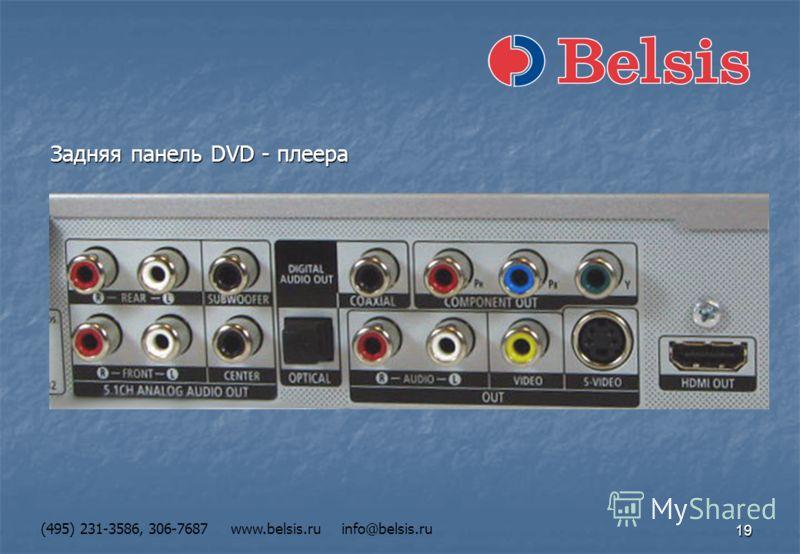 19 (495) 231-3586, 306-7687 www.belsis.ru info@belsis.ru Задняя панель DVD - плеера