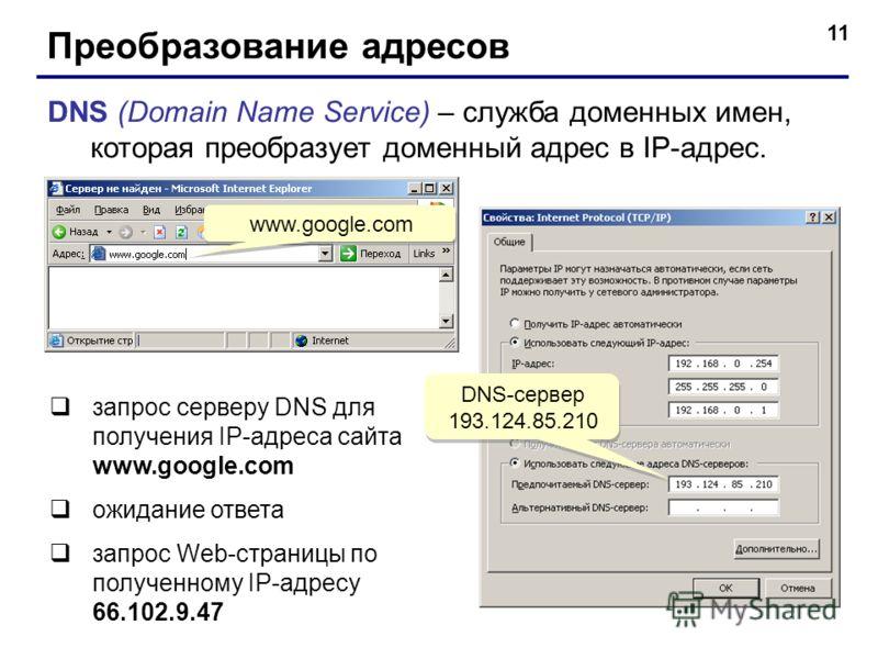 11 Преобразование адресов DNS (Domain Name Service) – служба доменных имен, которая преобразует доменный адрес в IP-адрес. www.google.com запрос серверу DNS для получения IP-адреса сайта www.google.com ожидание ответа запрос Web-страницы по полученно