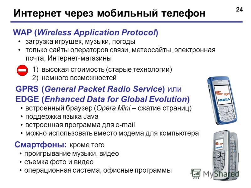 24 Интернет через мобильный телефон WAP (Wireless Application Protocol) загрузка игрушек, музыки, погоды только сайты операторов связи, метеосайты, электронная почта, Интернет-магазины 1)высокая стоимость (старые технологии) 2)немного возможностей GP