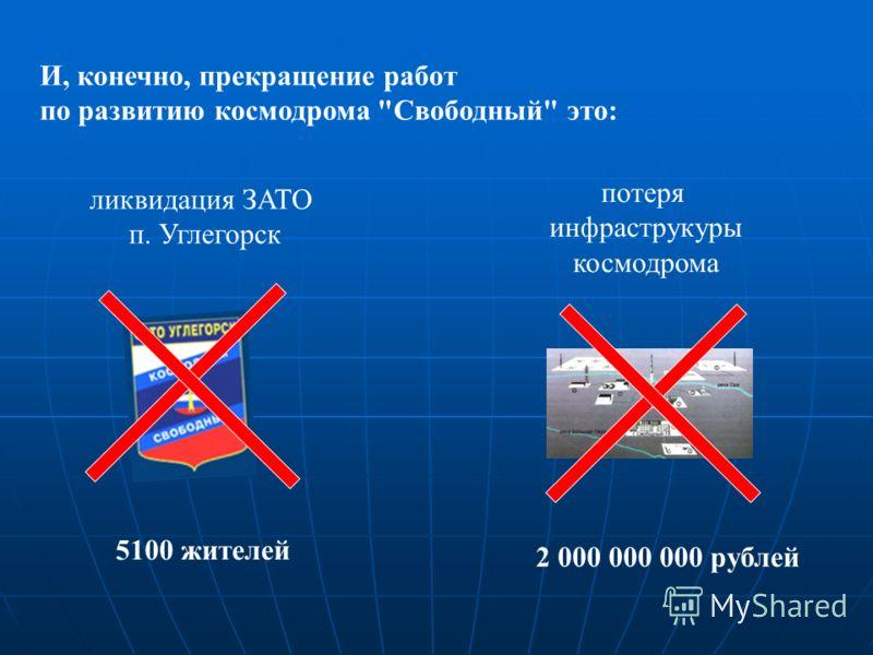 И, конечно, прекращение работ по развитию космодрома Свободный это: потеря инфраструкуры космодрома ликвидация ЗАТО п. Углегорск 5100 жителей 2 000 000 000 рублей