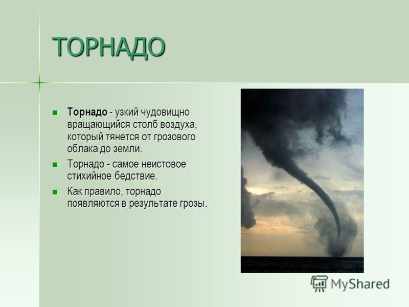 ТАЙФУН Тайфуны - атмосферные тропические вихри. Тайфуны - атмосферные тропические вихри. В центре тайфуна ветер почти отсутствует и уменьшена облачность - это «глаз бури». В центре тайфуна ветер почти отсутствует и уменьшена облачность - это «глаз бу