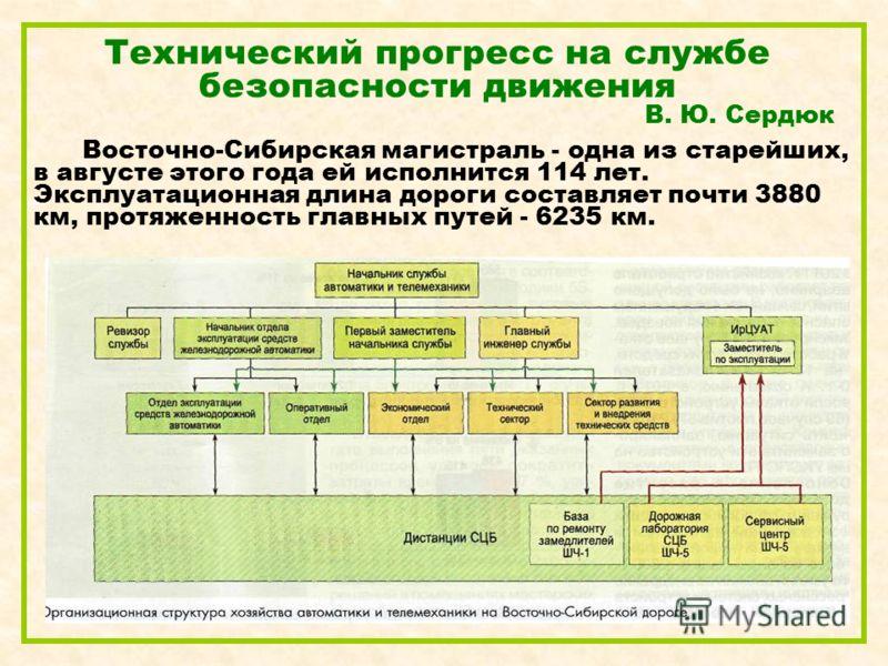 Технический прогресс на службе безопасности движения В. Ю. Сердюк Восточно-Сибирская магистраль - одна из старейших, в августе этого года ей исполнится 114 лет. Эксплуатационная длина дороги составляет почти 3880 км, протяженность главных путей - 623