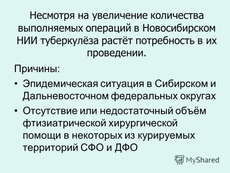 Несмотря на увеличение количества выполняемых операций в Новосибирском НИИ туберкулёза растёт потребность в их проведении. Причины: Эпидемическая ситуация в Сибирском и Дальневосточном федеральных округах Отсутствие или недостаточный объём фтизиатрич