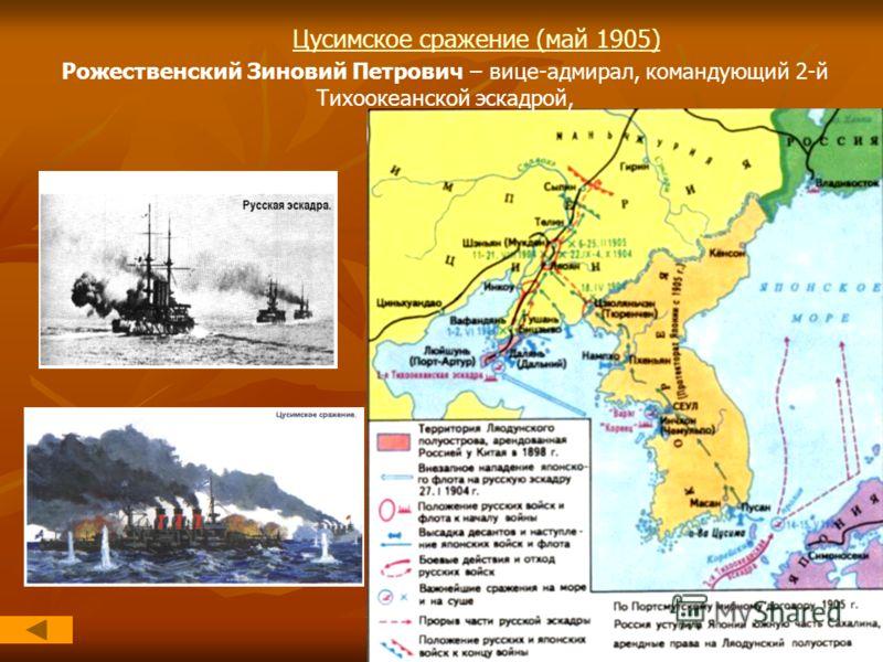 Цусимское сражение (май 1905) Рожественский Зиновий Петрович – вице-адмирал, командующий 2-й Тихоокеанской эскадрой,