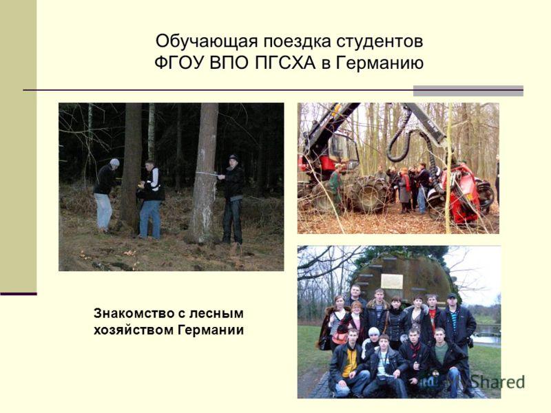 Обучающая поездка студентов ФГОУ ВПО ПГСХА в Германию Знакомство с лесным хозяйством Германии