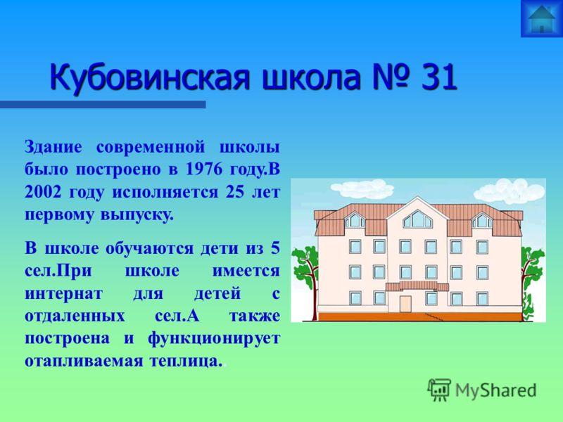 Кубовинская школа 31 Здание современной школы было построено в 1976 году.В 2002 году исполняется 25 лет первому выпуску. В школе обучаются дети из 5 сел.При школе имеется интернат для детей с отдаленных сел.А также построена и функционирует отапливае