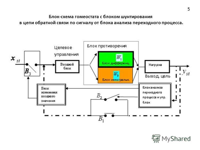 Блок-схема гомеостата с блоком шунтирования в цепи обратной связи по сигналу от блока анализа переходного процесса. 5