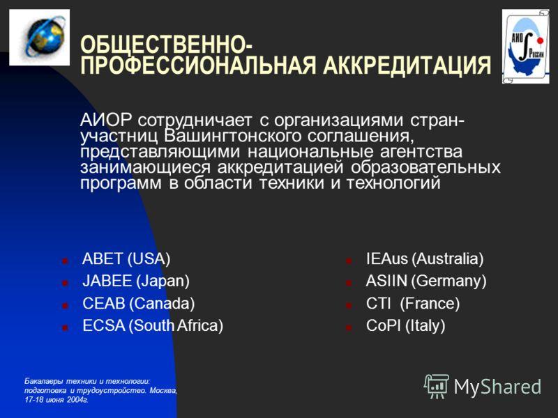 Бакалавры техники и технологии: подготовка и трудоустройство. Москва, 17-18 июня 2004г. ОБЩЕСТВЕННО- ПРОФЕССИОНАЛЬНАЯ АККРЕДИТАЦИЯ АИОР сотрудничает с организациями стран- участниц Вашингтонского соглашения, представляющими национальные агентства зан
