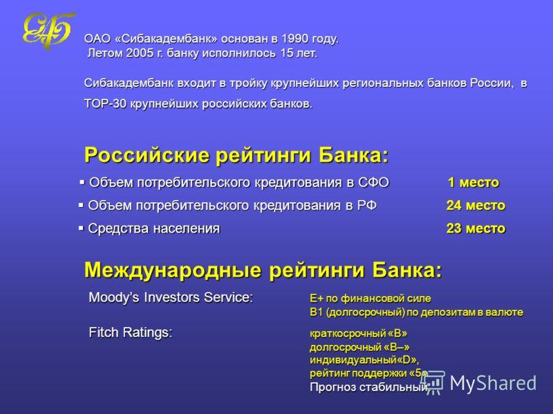 ОАО «Сибакадембанк» основан в 1990 году. Летом 2005 г. банку исполнилось 15 лет. Сибакадембанк входит в тройку крупнейших региональных банков России, в TOP-30 крупнейших российских банков. Российские рейтинги Банка: Объем потребительского кредитовани