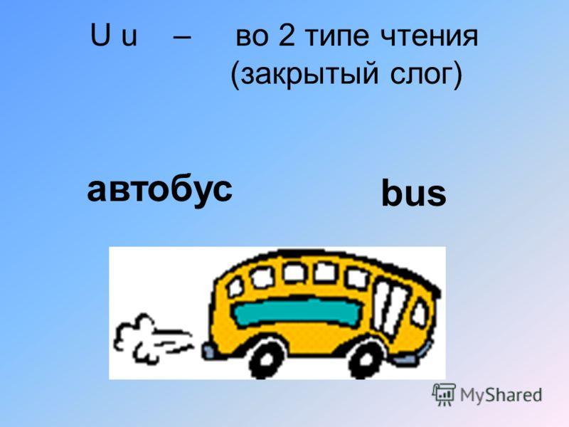 U u – во 2 типе чтения (закрытый слог) автобус bus