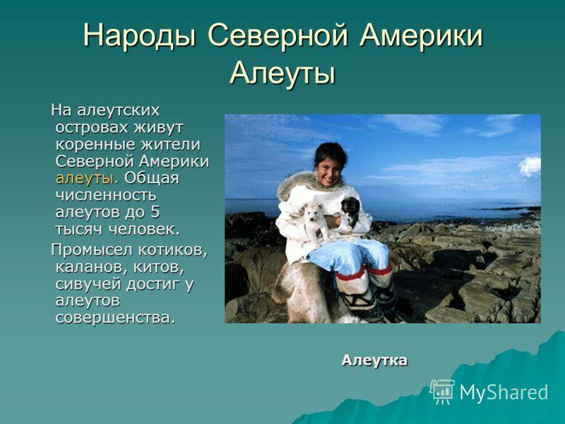Народы Северной Америки Алеуты На алеутских островах живут коренные жители Северной Америки алеуты. Общая численность алеутов до 5 тысяч человек. На алеутских островах живут коренные жители Северной Америки алеуты. Общая численность алеутов до 5 тыся