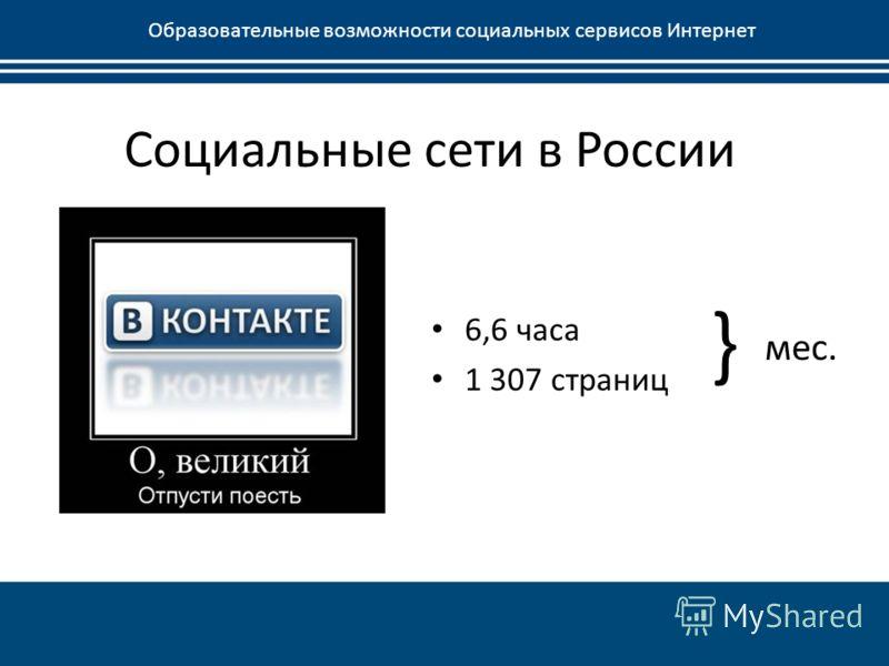 Социальные сети в России Образовательные возможности социальных сервисов Интернет 6,6 часа 1 307 страниц } мес.