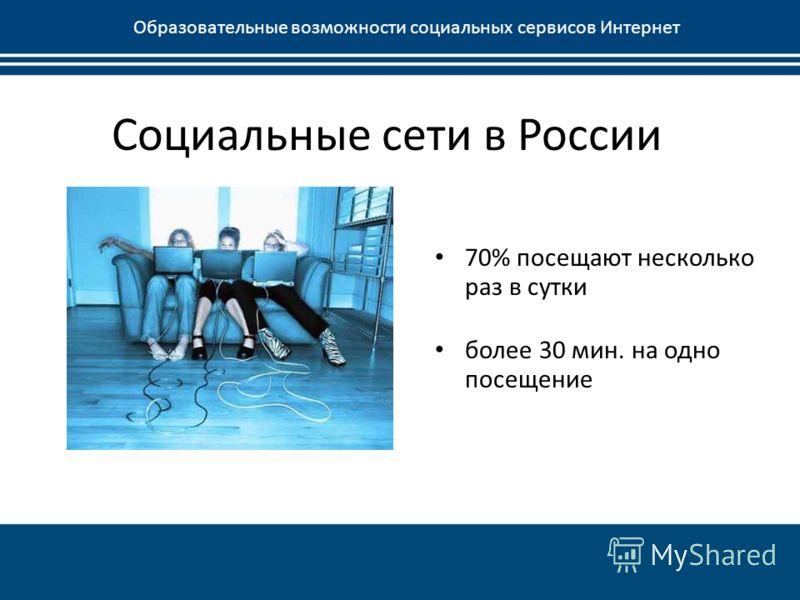 Социальные сети в России Образовательные возможности социальных сервисов Интернет 70% посещают несколько раз в сутки более 30 мин. на одно посещение