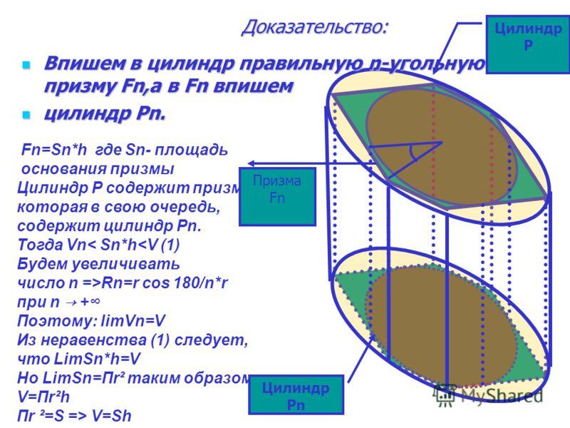 Теорема: Объем цилиндра равен произведению площади основания на высоту. V V=S*h V=h*S(r)=π R ²*h S(r)=π R ² h