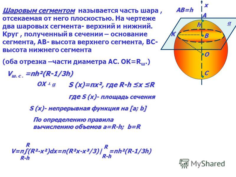 A М O C хх Объем шара Теорема :Объем шара радиуса R равен 4/3πR³ Дано: шар, Rш ; О- центр шара; ОХ – ось шара; αOX ;М- центр круга сечения; ОС=r; Sсеч. = S (x); х- абсцисса М Найти : V S (x)=πr²S (x)=π(R²-x²) -R x R Применяя основную формулу для вычи