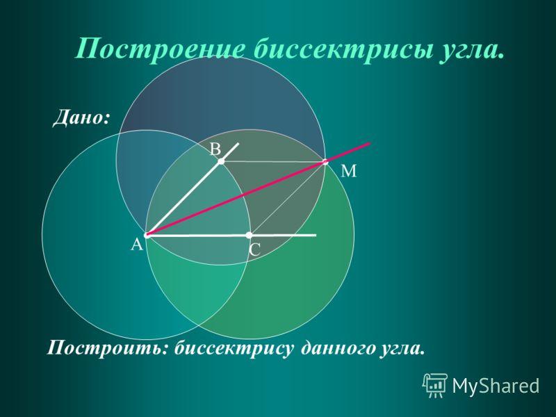 Дано: Построить: биссектрису данного угла. Построение биссектрисы угла. А В С М