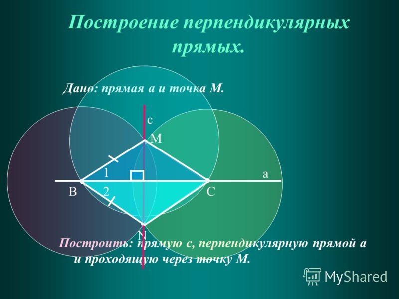 Дано: прямая а и точка М. Построить: прямую с, перпендикулярную прямой а и проходящую через точку М. Построение перпендикулярных прямых. ВС М а N c 1 2