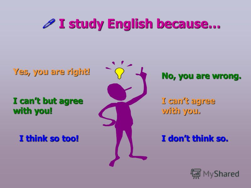 I study English because… Yes, you are right! I cant but agree with you! I think so too! No, you are wrong. I cant agree with you. I dont think so.