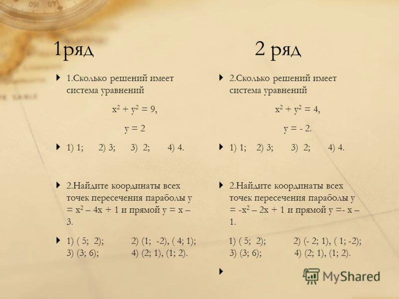 1ряд 2 ряд 1.Сколько решений имеет система уравнений х 2 + у 2 = 9, у = 2 1) 1; 2) 3; 3) 2; 4) 4. 2.Найдите координаты всех точек пересечения параболы у = х 2 – 4х + 1 и прямой у = х – 3. 1) ( 5; 2); 2) (1; -2), ( 4; 1); 3) (3; 6); 4) (2; 1), (1; 2).