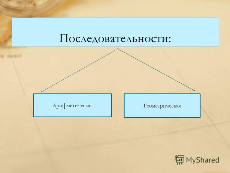 Последовательности: Арифметическая Геометрическая