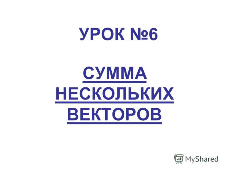 УРОК 6 СУММА НЕСКОЛЬКИХ ВЕКТОРОВ