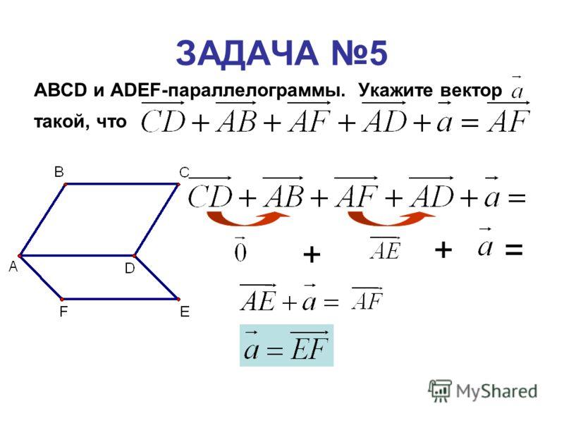 ЗАДАЧА 5 ABCD и ADEF-параллелограммы. Укажите вектор такой, что + +=