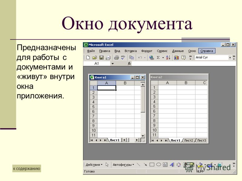 Окно документа Предназначены для работы с документами и «живут» внутри окна приложения. к содержанию