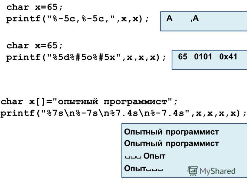 char x=65; printf(%-5c,%-5c,,x,x); A,A char x[]=опытный программист; printf(%7s\n%-7s\n%7.4s\n%-7.4s,x,x,x,x); char x=65; printf(%5d%#5o%#5x,x,x,x); 65 0101 0x41 Опытный программист Опыт