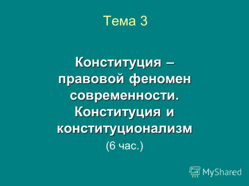 1 Тема 3 Конституция – правовой феномен современности. Конституция и конституционализм (6 час.)
