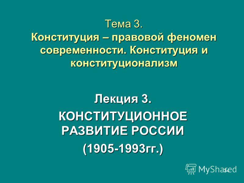 34 Тема 3. Конституция – правовой феномен современности. Конституция и конституционализм Лекция 3. КОНСТИТУЦИОННОЕ РАЗВИТИЕ РОССИИ (1905-1993гг.)
