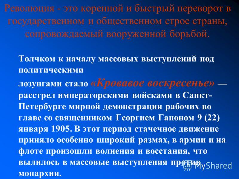 Толчком к началу массовых выступлений под политическими лозунгами стало «Кровавое воскресенье» расстрел императорскими войсками в Санкт- Петербурге мирной демонстрации рабочих во главе со священником Георгием Гапоном 9 (22) января 1905. В этот период