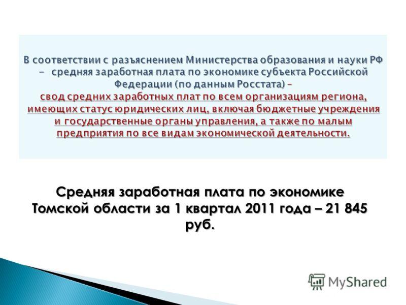 3 Средняя заработная плата по экономике Томской области за 1 квартал 2011 года – 21 845 руб.