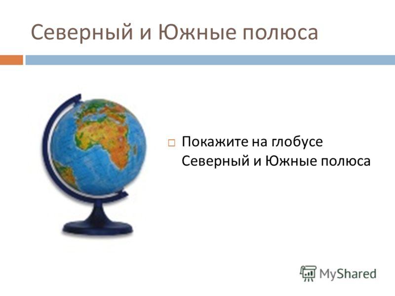 Северный и Южные полюса Покажите на глобусе Северный и Южные полюса