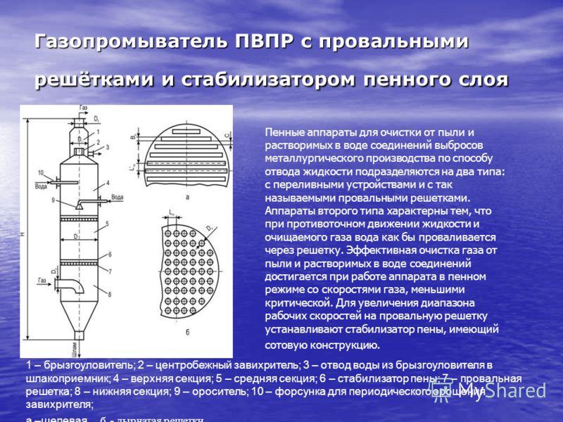 Газопромыватель ПВПР с провальными решётками и стабилизатором пенного слоя 1 – брызгоуловитель; 2 – центробежный завихритель; 3 – отвод воды из брызгоуловителя в шлакоприемник; 4 – верхняя секция; 5 – средняя секция; 6 – стабилизатор пены; 7 – провал